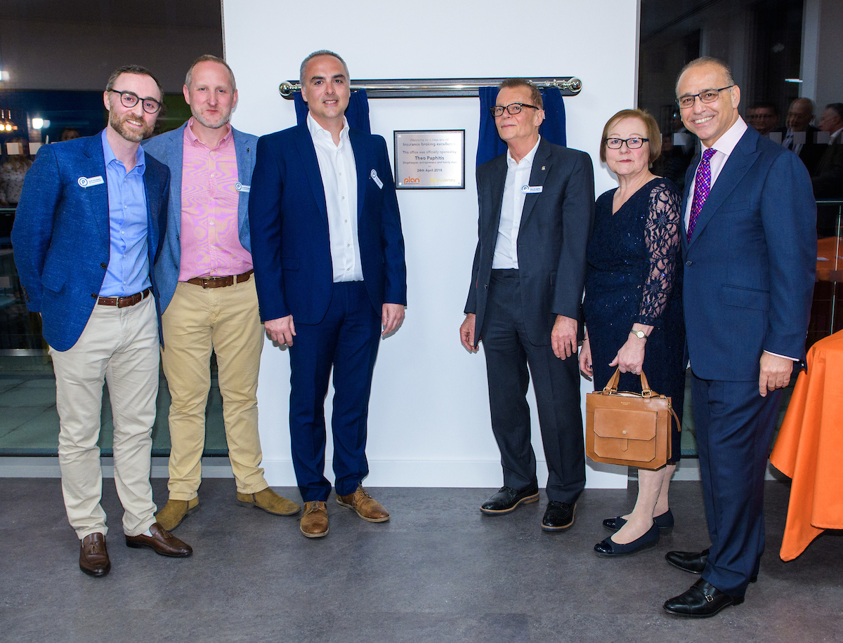 Grant, Scott, Ryan, Peter and Gail Georgiades with Theo Paphitis